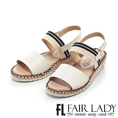 Fair Lady 清新玩色鬆緊帶草編厚底涼鞋 白