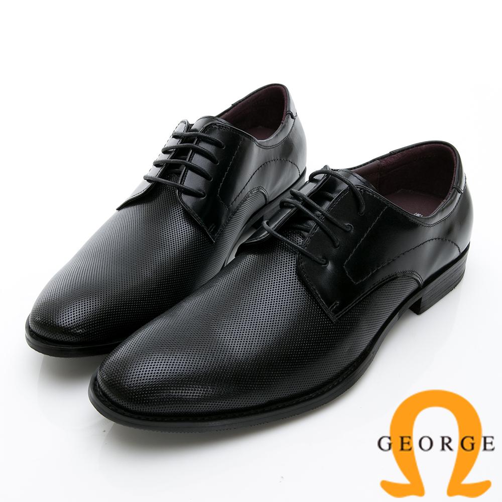 GEORGE 喬治-時尚職人系列 經典漸層小圓楦綁帶紳士鞋皮鞋-黑