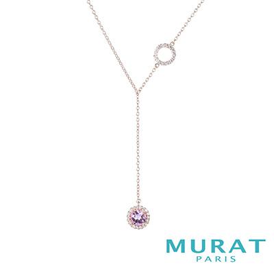 MURAT Paris米哈巴黎 優雅紫水晶項鍊(Y字鍊)(玫瑰金)