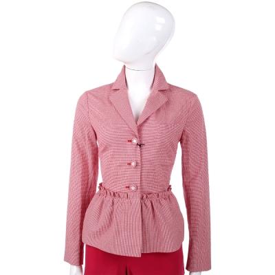 LOVE MOSCHINO 紅白格紋抓褶設計西裝外套