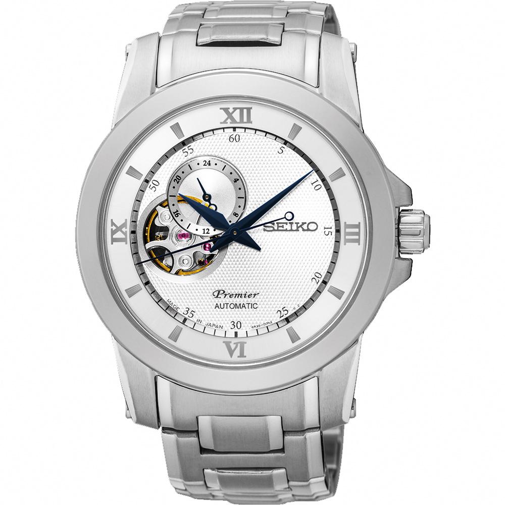 SEIKO Premier 開芯鏤空視窗機械腕錶(SSA319J1)-銀/40mm