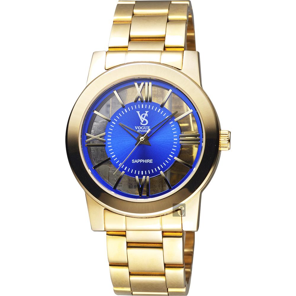 VOGUE 曼波系列鏤空藝術腕錶-藍x金/38mm