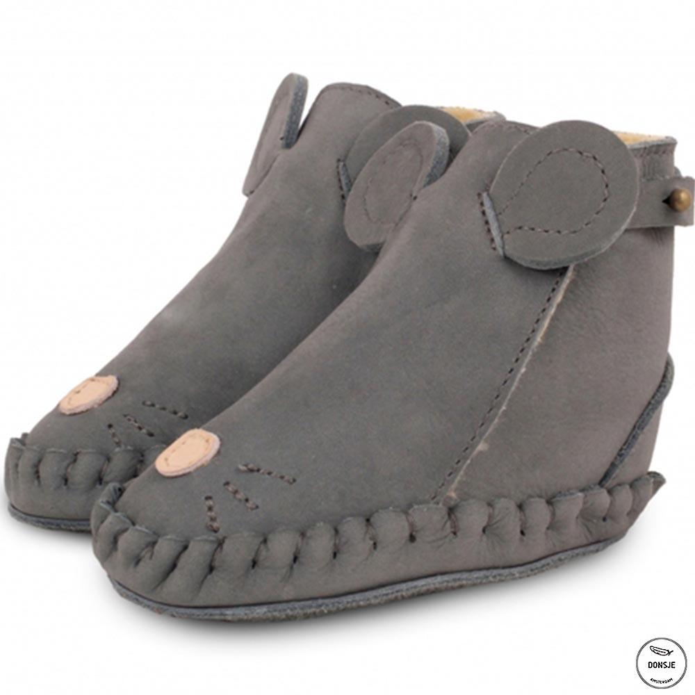 Donsje 荷蘭 深灰老鼠款動物造型內刷毛蝴蝶結真皮寶寶靴子