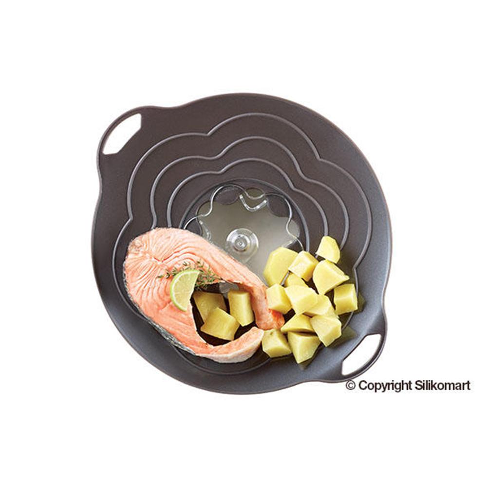 義大利製SiliKoMart專利防漏-聰明蒸煮鍋蓋(L+S)-黑
