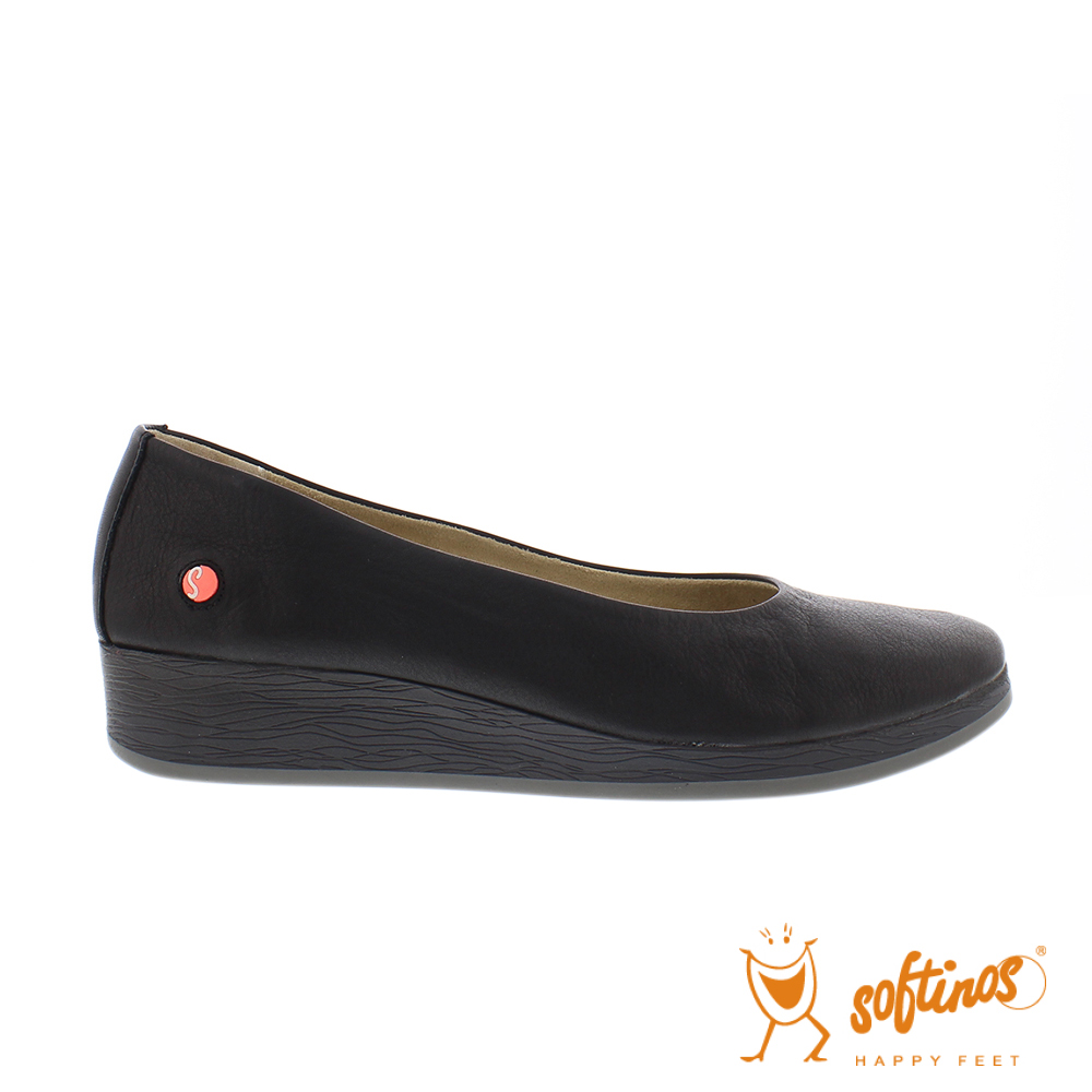 SOFTINOS(女) 輕巧圓頭牛皮休閒鞋-黑
