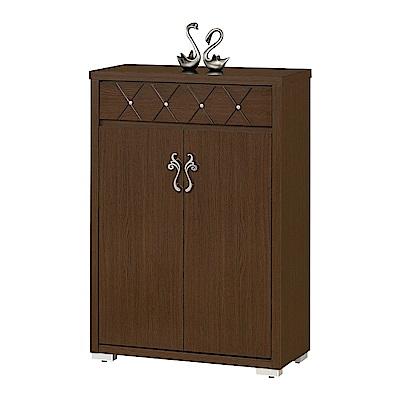 品家居  洛米特2.7尺胡桃木紋二門單抽鞋櫃-80x40.4x118cm免組