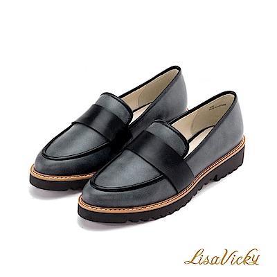 LisaVicky 都會簡約低跟平底樂福鞋-深藍黑
