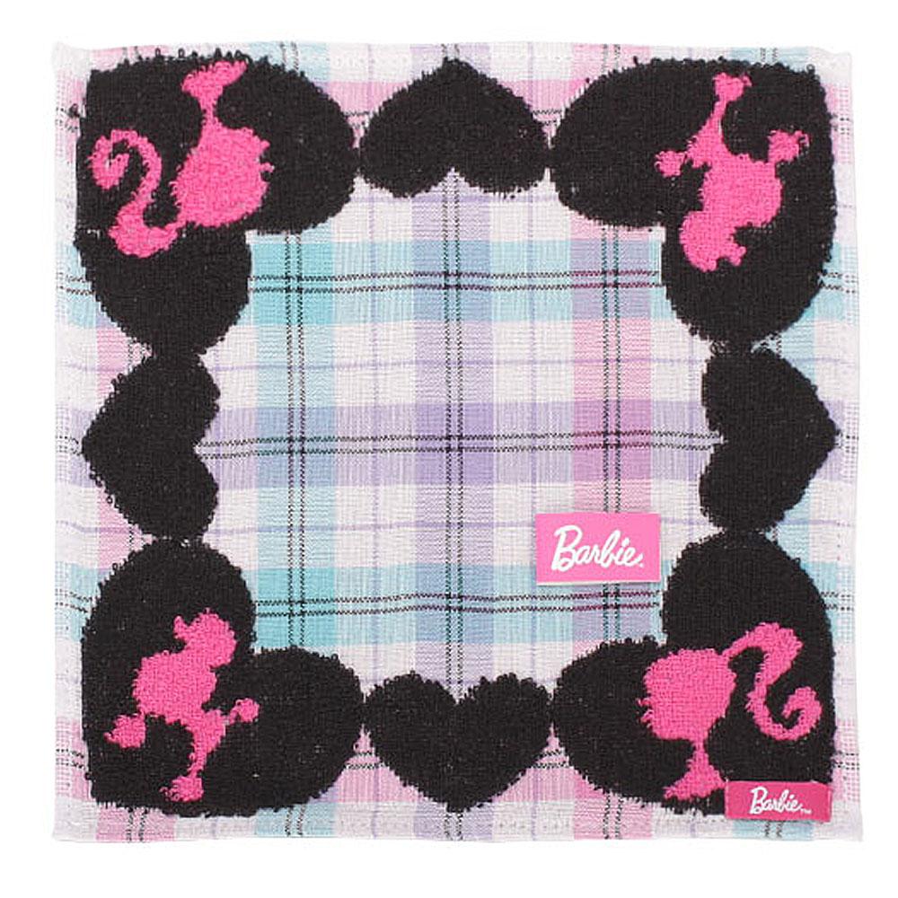 Barbie 休閒芭比格紋棉方巾-粉紫