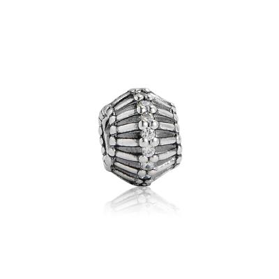 Pandora 潘朵拉 透明水鑽曲線轉軸珠 純銀墜飾 串珠