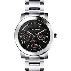 RELAX TIME 時尚型男日曆手錶-黑x銀/38mm