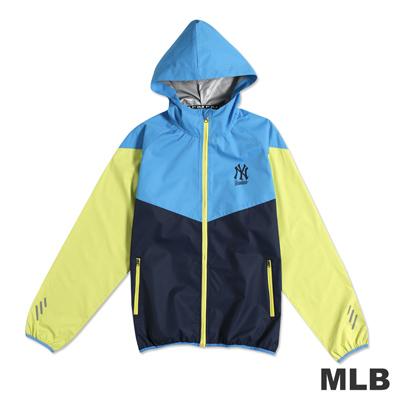 MLB-紐約洋基隊撞色運動薄風衣連帽外套-藍(男)