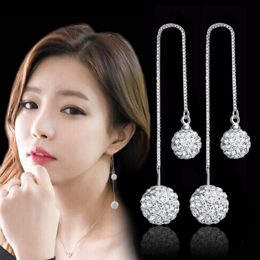 梨花HaNA 韓國925銀水鑽球球雙飾耳線修飾耳環