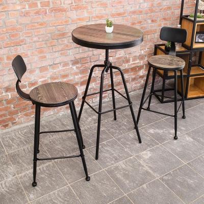 Bernice-伯恩工業風實木鐵腳高吧台桌椅組合(一桌二椅)55x55x82~105cm