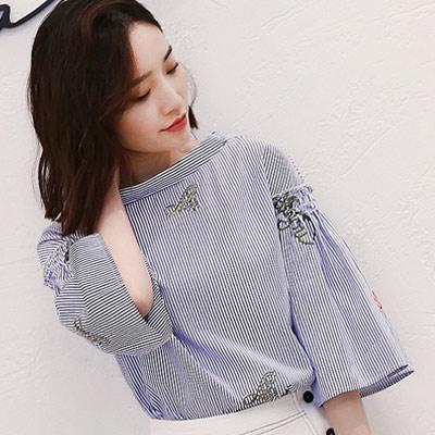 字母刺繡條紋喇叭袖長袖襯衫-藍色-Kugi-Gir