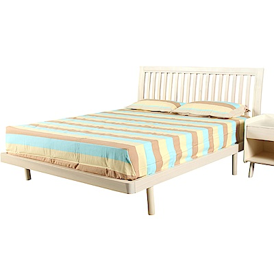 AT HOME-潔西卡北歐6尺實木白木色雙人加大床(190*200*100cm)(不含床墊