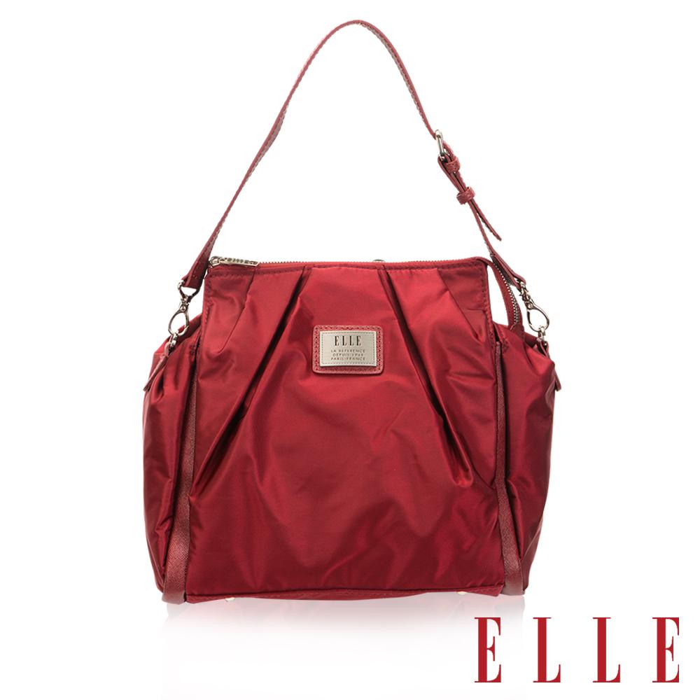 ELLE 法式優雅時尚風貌後背/手提包 百褶淑媛設計款 搭配質感頭層皮-酒紅