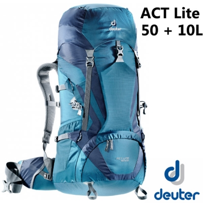 【Deuter 】ACT Lite 50 + 10 輕量拔熱式透氣背包/登山健行_藍/深藍
