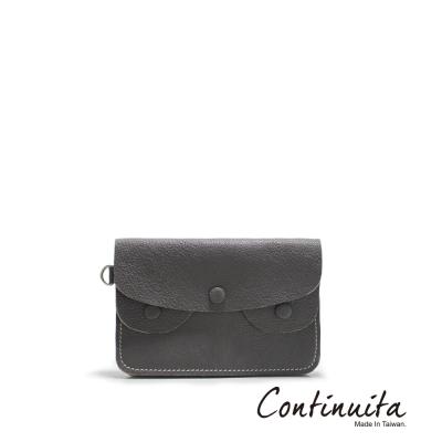 Continuita-康緹尼-MIT-頭層牛皮手拎零錢包-灰色