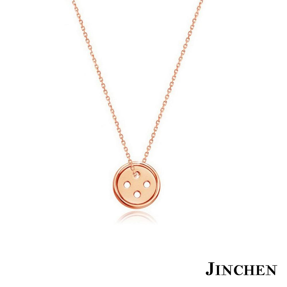 JINCHEN 韓劇白鋼鈕扣項鍊 亮面