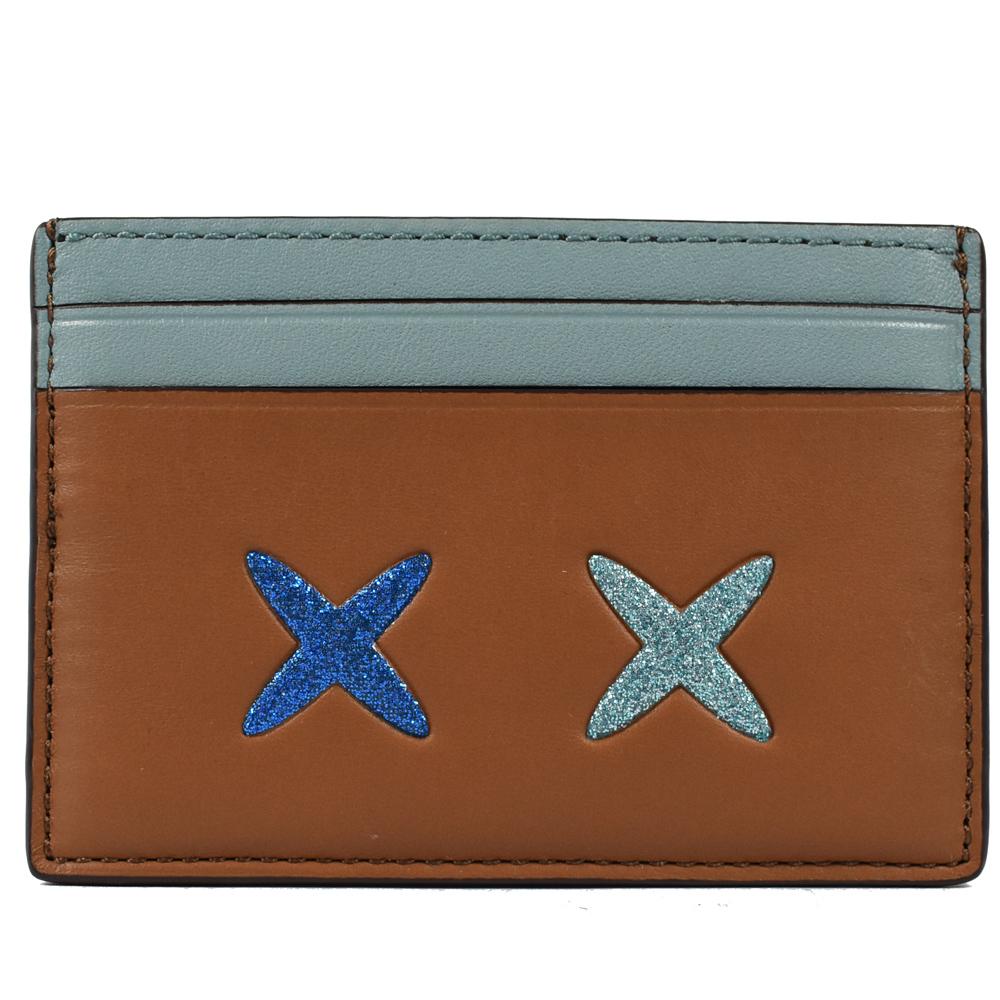 COACH 表情圖案雙色牛皮卡片夾(咖/淺藍)