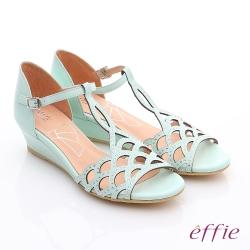 effie個性涼夏 真皮水鑽鏤空T字楔型涼鞋 淺綠