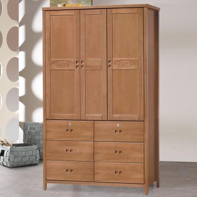 時尚屋 香杉美檜4x7尺衣櫃 寬121cm-免組