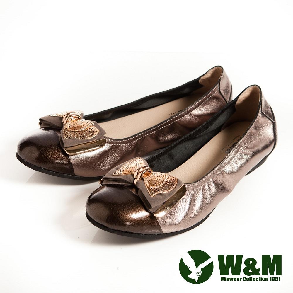 W&M 金屬片蝴蝶結優雅時尚好穿搭柔軟平底鞋-銀