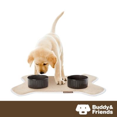 【Buddy&Friends】寵物造型用餐墊 亞麻色 (36x51cm)