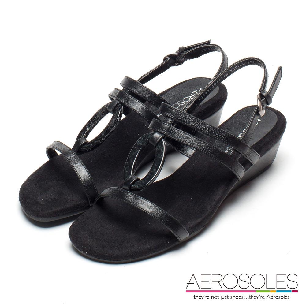 AEROSOLES 印加美人真皮琥珀繫帶小坡跟涼鞋-尊爵墨黑