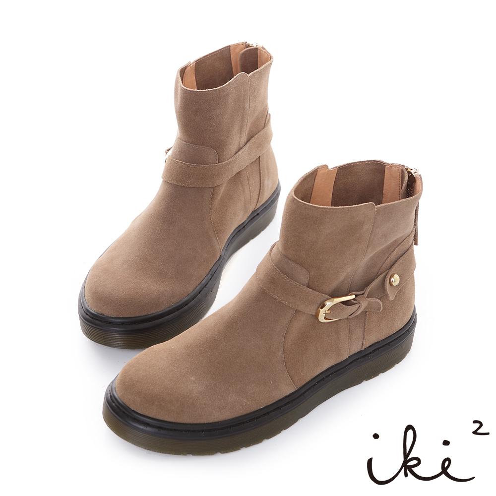 iki2風中奇緣-牛麂皮金珠圓扣厚底短靴-豆青