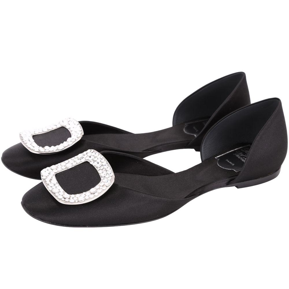 Roger Vivier Chips 水晶鑽方框絲緞芭蕾舞鞋(黑色)