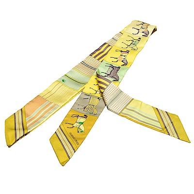 HERMES 愛馬仕馬匹圖案Twilly絲巾領結(萊姆黃-一組兩條)