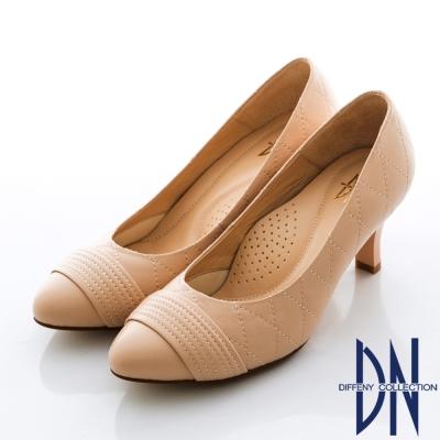 DN-氣質首選-MIT羊皮菱格紋跟鞋-裸