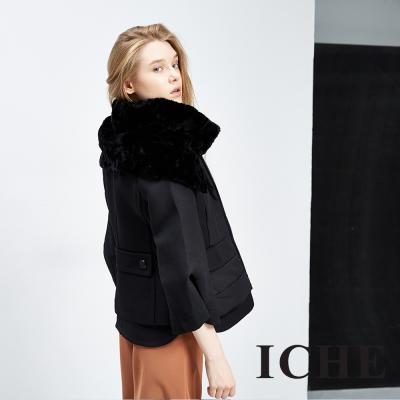 ICHE 衣哲 精緻毛領翻領斗篷造型黑外套