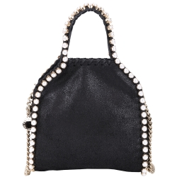 Stella McCartney Falabella 珍珠滾邊兩用鏈帶包(TINY/黑色)