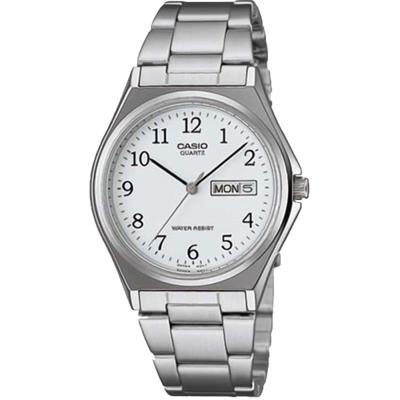 CASIO 經典簡約時尚日曆星期腕錶(MTP-1240D-7B)-數字白面/36mm