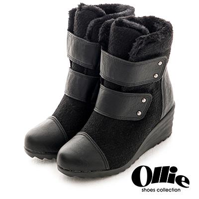 Aviator*韓國空運-Ollie正韓製毛料鋪毛雙魔鬼氈休閒楔型鞋-黑