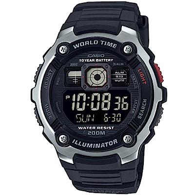 CASIO深海潛將數位電子膠帶錶AE-2000W-1B黑面48mm