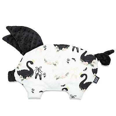 La Millou 豆豆小豬枕嬰兒枕安撫玩具-芭蕾舞天鵝(法蘭黑炫風)