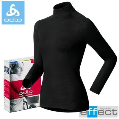 【瑞士 ODLO】warm effect 女高領機能型銀離子保暖上衣.衛生衣/黑
