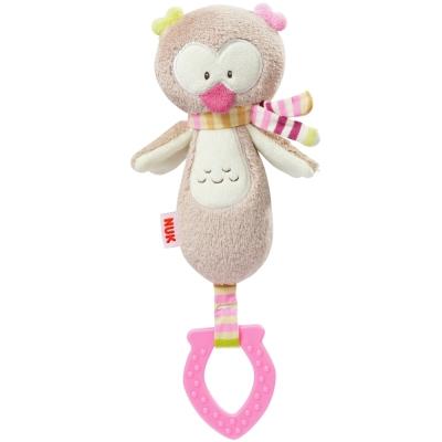 德國NUK絨毛玩具-貓頭鷹搖鈴固齒玩偶
