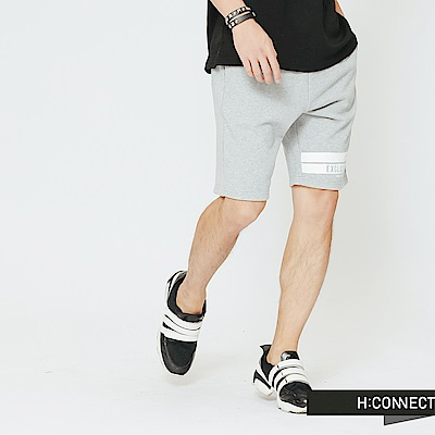 H:CONNECT 韓國品牌 男裝-鬆緊綁帶棉質短褲-灰