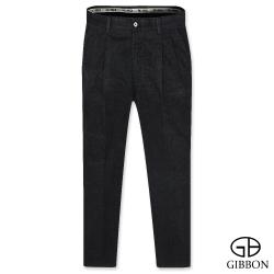 GIBBON 精品織紋舒適打摺休閒褲‧黑色30-42