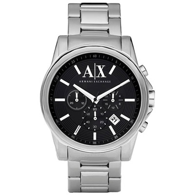 A│X Armani Exchange 時尚三眼計時腕錶-黑/43mm