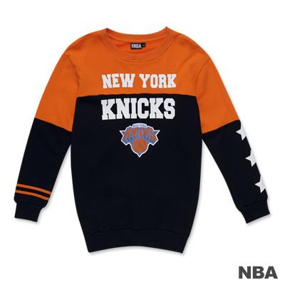 NBA-紐約尼克隊撞色印花圓領長版T恤-深藍色(女)