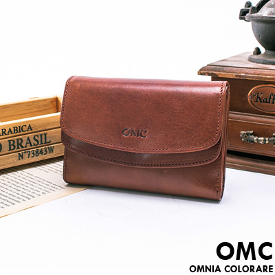 OMC - 韓國時尚精工牛皮原皮多卡零錢袋中夾