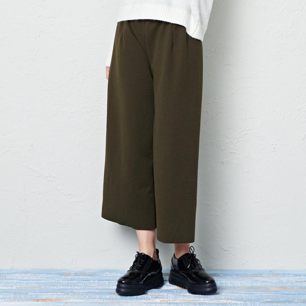 坑條針織寬褲(三色)-CACO