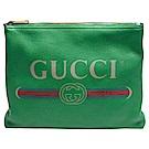 GUCCI 復古風格的圖案小牛皮綠紅綠織帶標誌手拿包(中-綠)
