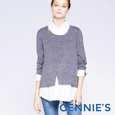 Gennies專櫃-素面襯衫哺乳上衣-灰(T3C05)