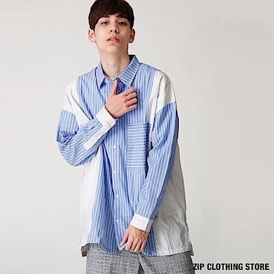 拼接條紋寬版襯衫(2色) ZIP日本男裝
